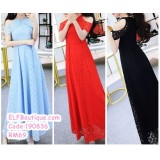 190836 Woman Lacey Maxi Dinner Party Dress /sky blue/red/black