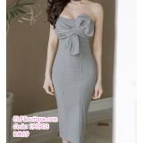 190903 Grey Woman Off-shoulder Ribbon Midi Plaid Dress
