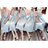 Y2017021 BLUE PREMIUM BRIDESMAID DRESS MIDI DRESS EVENING GOWN STRAP BACK PREMIUM CUSTOM MADE FREE SHIPPING