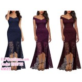 190712 Woman Lacey Off-shoulder Dinner Evening Fishtail Long Dress Navy Red Purple