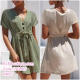 190869 European Summer New-style V-neck Short Sleeve Cardigan Casual Dress