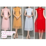 190907 Short sleeve Chinese style Tulle  Bridesmade Dinner Party Costume Red/ Pink/ Grey/ Gold