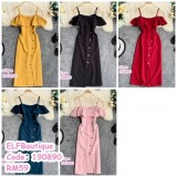 190890 Woman off shoulder  ruffled sleeve single-breasted slit button dress dark green/pink/red/yellow/white/black