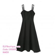 190895 Summer Fairy One Shoulder Casual Dress Black Orange