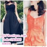 190895 Summer Fairy One Shoulder Casual Dress Black Orange
