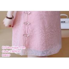 190930 Chinese Short Sleeve Retro Sweet Cheongsam Mini Dress Pink Grey White Plus Size S-5XL