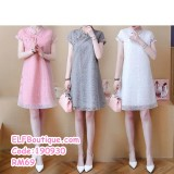 190930 Chinese Short Sleeve Retro Sweet Cheongsam Mini Dress Pink Grey White Plus Size S-5XL