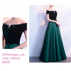190910 Elegent Off-shoulder Dinner Gown Party Maxi Dress Green Black Navy Blue Wine Red