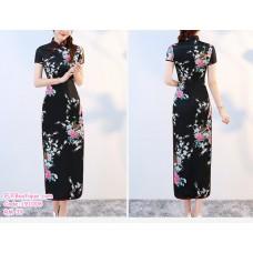 191006 Chinese Retro Short Sleeve High Neck Long Cheongsam Plus Size S to 6XL Light Blue/Royal Blue/Purple/Red/Dark Pink/Light Pink/White/Black