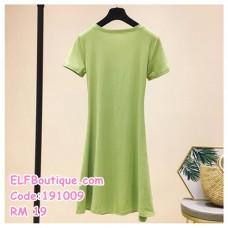 191009 Summer Simple Plain Round Neck Short Sleeve Casual Long T Shirt Dress Apple Green Black