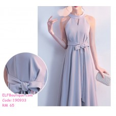 190933 Simple and Elegent Hanging Neck Strapless Strap Maxi Dinner Dress Red Black Grey Wine Red
