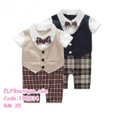 190934 Baby boy plaid bow tie short sleeved gentleman's clothing fake two-piece romper Black Brown