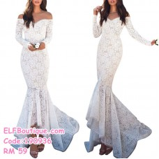 190936 European Woman White Lacey Slim Sexy Long Sleeve Fish Tail Dinner Dress