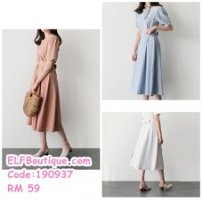 190937  Summer New Korean Style Short-Sleeved Solid Colour Cotton Waist Slimming Casual Midi Dress White Pink Blue