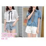 190938  Chiffon Short Sleeved Female Summer Loose Slim Student Blouse Formal  Shirts White Blue