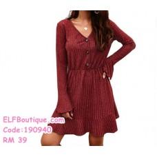 190940 European Long Sleeve V neck Casual Top Plain Dress Pink Blue Red Black  .