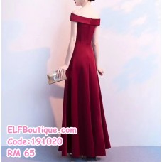 191020  Off Shoulder Evening Gown Maxi Dinner Dress Red Black Navy Blue Wine Red