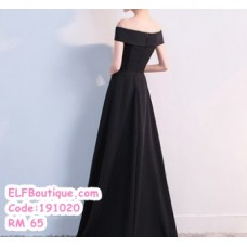 191020  Off Shoulder Evening Gown Maxi Dinner Dress Red Black Navy Blue Wine Red