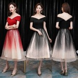 190928 Stary Dinner Party Dress  Black Red