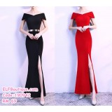 190942  Elegent Simple Off Shoulder Dinner Dress Black Red