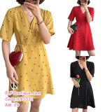 191031 Woman V Neck Short Sleeve High Waist Chiffon Mini Dress Yellow Red Black