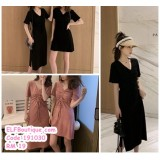 191030 Bestie Ribbon Mini and Midi Dress  Bean Black