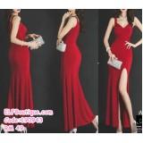 190943 Red Summer Sexy Elegent V neck Wedding Party Dinner Dress