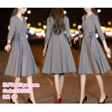 191019 Korean Style OL V neck Long Sleeve Grey Midi Dress