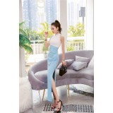 191010 White and Blue Simple Hanging Neck Elegant High Waist Dress