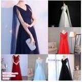 191038 Woman V Neck Sleeveless Elegent Dinner Gown white /red/black/navy/light blue/wine red