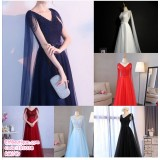 191038 Woman V Neck Sleeveless Elegent Dinner Gown white /red/black/navy/light blue/wine red