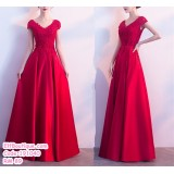 191040 Bride Lace Red Short Sleeve V Neck High Waist Maternity Women Wedding Gown Maxi Dress