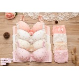 190851 Sweety Lacey Ribbon Wire Bra and Panties Set White Pink Beige Shrimp Red