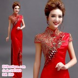 191053  Red Chinese Traditional Retro Cheongsam Costume Gown Maxi Dress