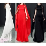 191062 Summer Woman High Waist Round Neck Dinner Gown Maxi Dress White Red Black
