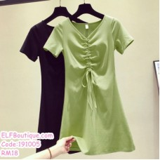 191005 Summer Simple Plain V Neck Short Sleeve Casual Long T Shirt Dress Green Black