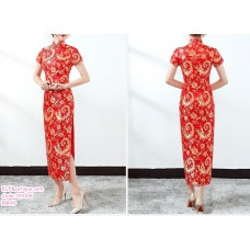 191008 Short Sleeve High Neck Cherry Blossom Anchovies Long Cheongsam Retro Dress