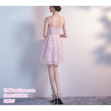 191068 Bridesmaid Sister Sexy Sling Dress Pink