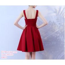 191070 Summer Sexy V-neck short sling dress Wine Red