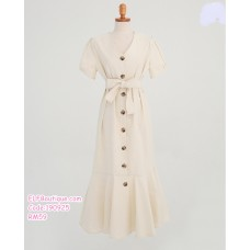 190925 French Style White Fish Tail Button Dress