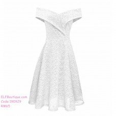 190929 Summer European  Woman Lace Off Shoulder Dinner Midi Dress