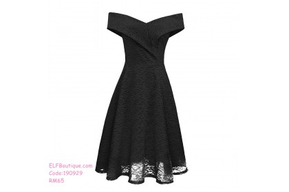 190929 Summer European  Woman Lace Off Shoulder Dinner Midi Dress