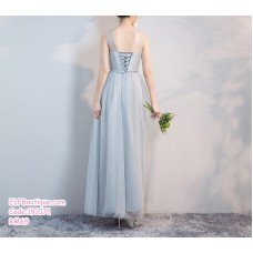 191071 Mesh Lace type Bridesmaid Sister Maxi Dress Grey blue