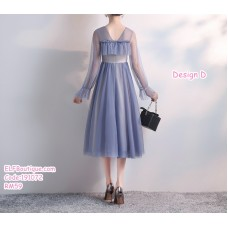 191072 Sweety Bridesmaid Sister Midi Dress Blue/Light Green/Brown