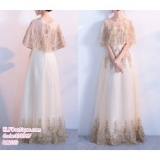 191067 Korean style Bridesmaid Sister party Maxy Dress Champagne