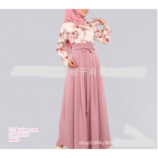 191103 Muslimah Floral Bow-knot High Waist Dress Plus size S to 5XL
