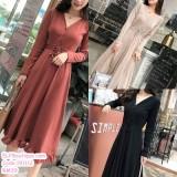 191112 Elegant French style Casual Woman V-Neck Long-sleeve slim Dress Brick Red/Apricot/Black