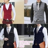 191024 Male Brother Groom Vest Man Formal Wear Grey Black Navy Wine Red Plus Size M to 6XL