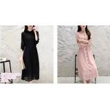 191077 Round Neck A Line Slim Office Ladies Long Sleeve Maxi Dress Black/Pink