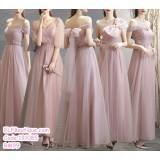 191085 Korean Style Bridesmaid Sister Off Shoulder Slim Maxi Dress Pink
